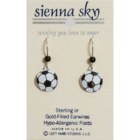 Sienna Sky Dangle Earrings Metal Soccer Ball Goal Game - ArtsiHome - Sienna Sky