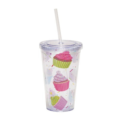 Cypress Home 17-Ounce Insulated Cup With Lid and Straw, Sweet Escape - ArtsiHome