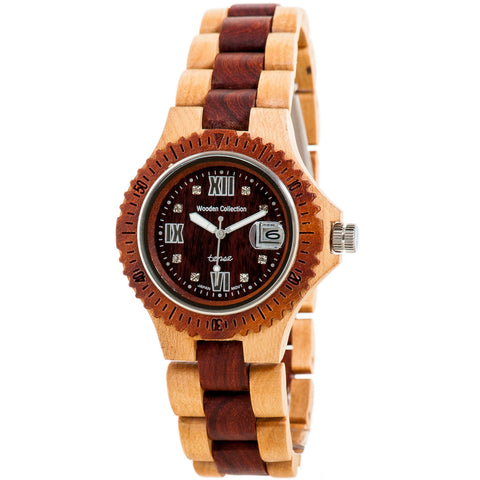 Tense Men's Compass Collection Wooden Watch - Two-Tone Maple & Sandalwood - ArtsiHome