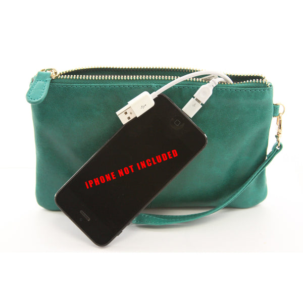 Mighty Purse - The Purse That Charges Your Phone By Handbag Butler - Emerald Green $$ - ArtsiHome