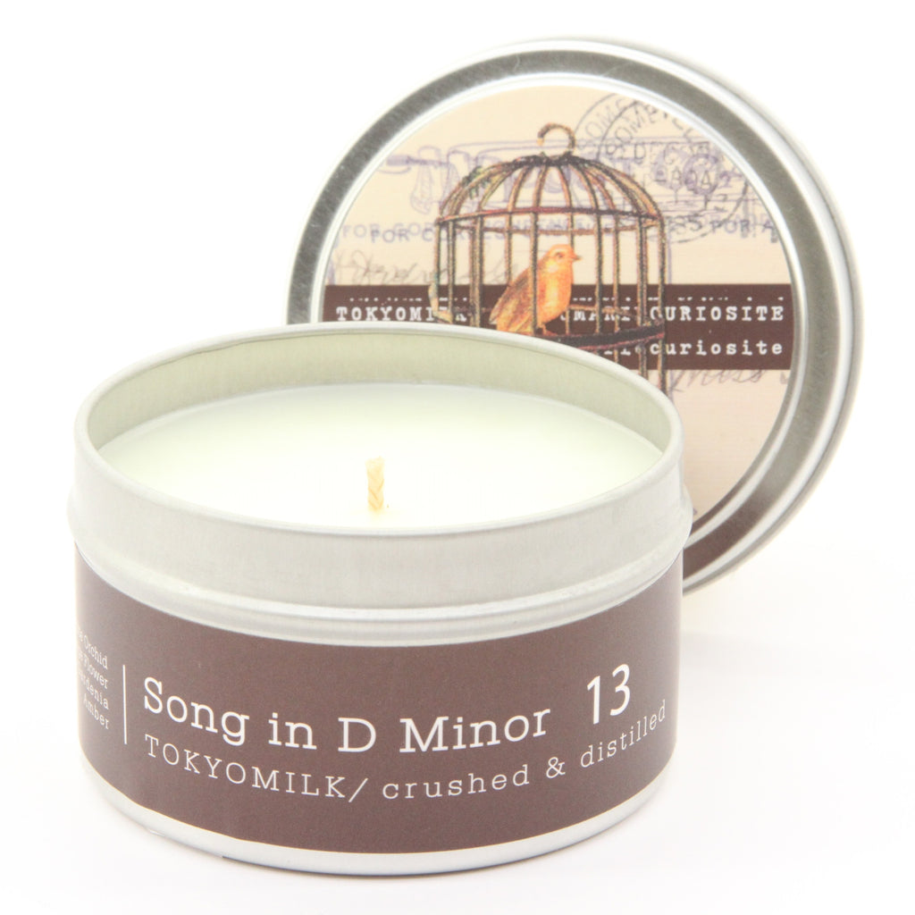 Margot Elena Tokyo Milk Song in D Minor Crushed and Distilled Tin Travel Candle, Flower Type of Fragrance, (.22 oz) - ArtsiHome