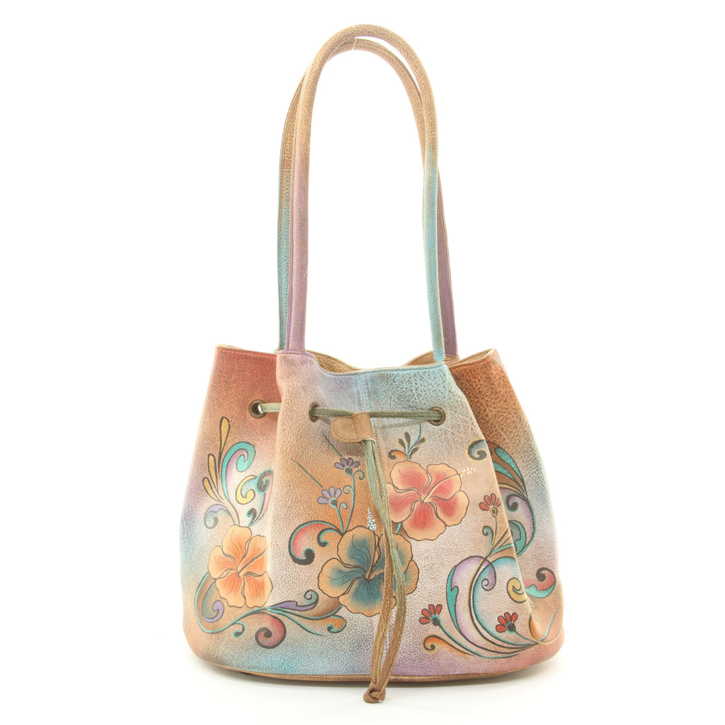 Henna Floral Genuine Leather Hand Bag w/ 10.5
