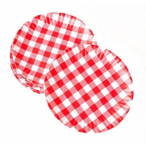 Gingham 'Paper' Plate, St/4, Melamine, 9in - ArtsiHome