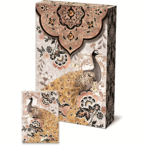Punch Studio Moonlight Peacock Decorative Pouch Note Cards - ArtsiHome