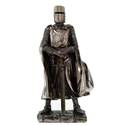 Crusader Knight Statue Silver Finishing Cold Cast Resin Statue 7 (8712) - ArtsiHome