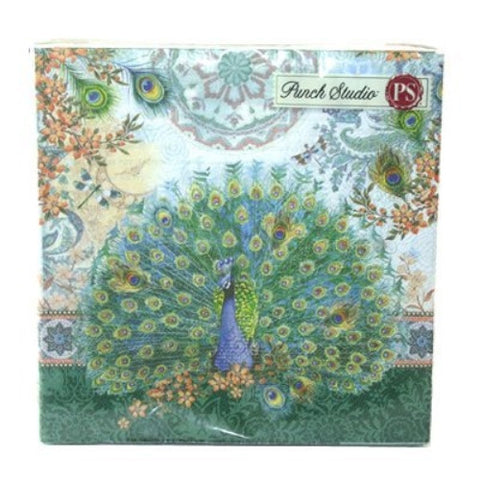 Punch Studio Luncheon Napkins- #53664 Royal Peacock - ArtsiHome