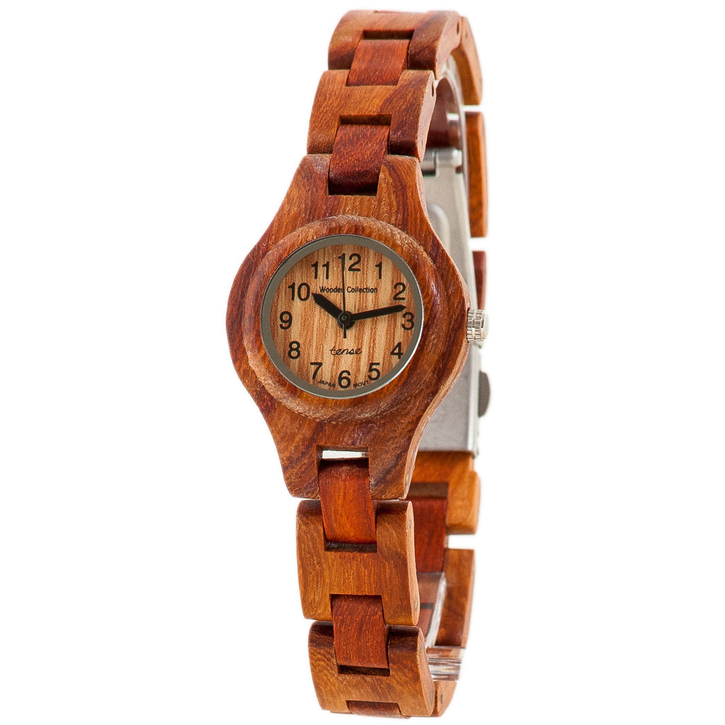 Tense Wood Watch Round Ladies Rosewood Bracelet L7509R - ArtsiHome
