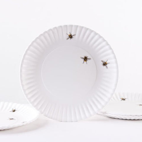 Bee 'Paper' Plate, Melamine (Set of Four) - ArtsiHome