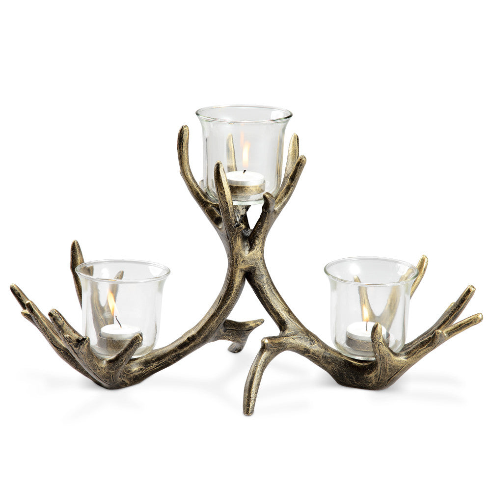 SPI Home Collection Aluminum Antler 3-Votive Candleholder - ArtsiHome