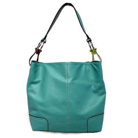 Classic Tall Large TOSCA Hobo Shoulder Handbag Silver Buckles Italy (Turquoise) - ArtsiHome