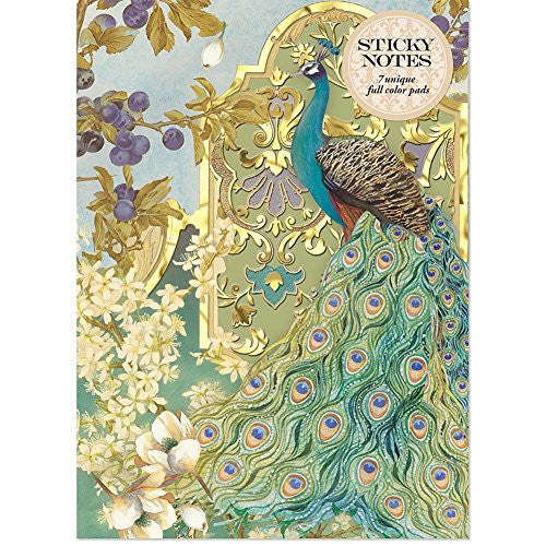 Molly & Rex Peacock Sticky Note Set in Folder - ArtsiHome