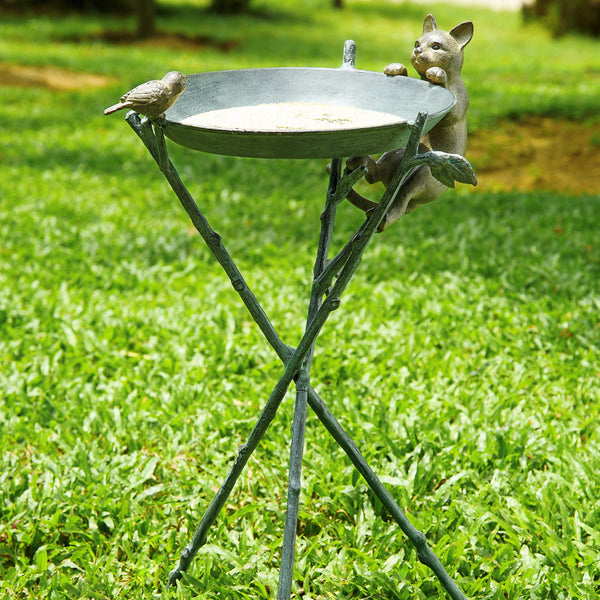 SPI Garden Collection Curious Cat & Bird Birdbath - ArtsiHome