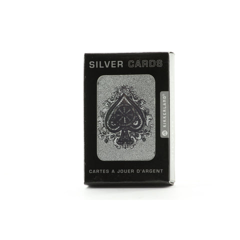 Kikkerland Silver Metallic Playing Cards Deck Poker Magic - ArtsiHome