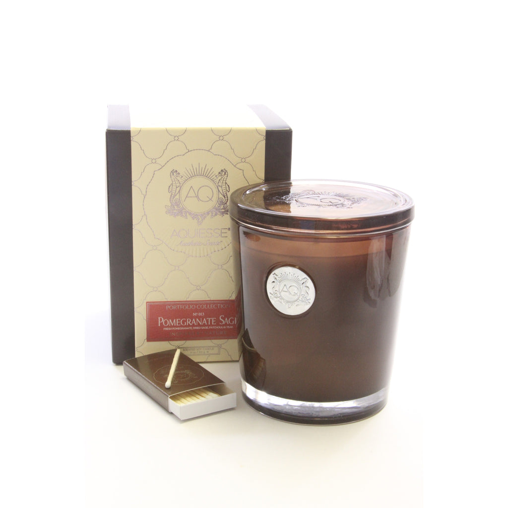 Aquiesse - Pomegranate Sage Large Soy Candle - Portfolio Candle Collection - ArtsiHome