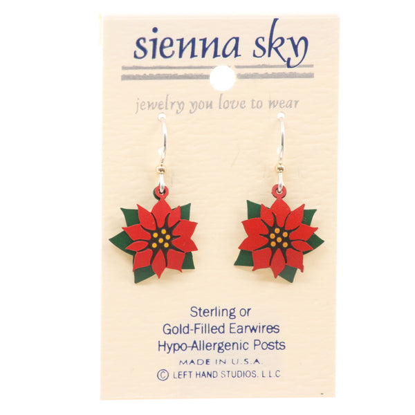 Sienna Sky Poinsettia & Leaf Hand-Painted Dangle Earrings - ArtsiHome