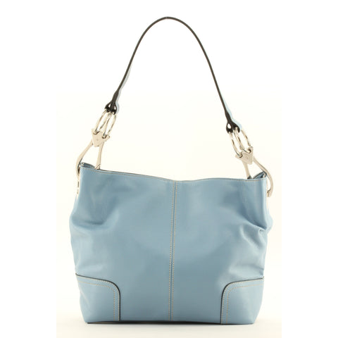New Tosca Handbag, Purse Bucket Style Shoulder Bag Leather Look, 640 Color Blue - ArtsiHome