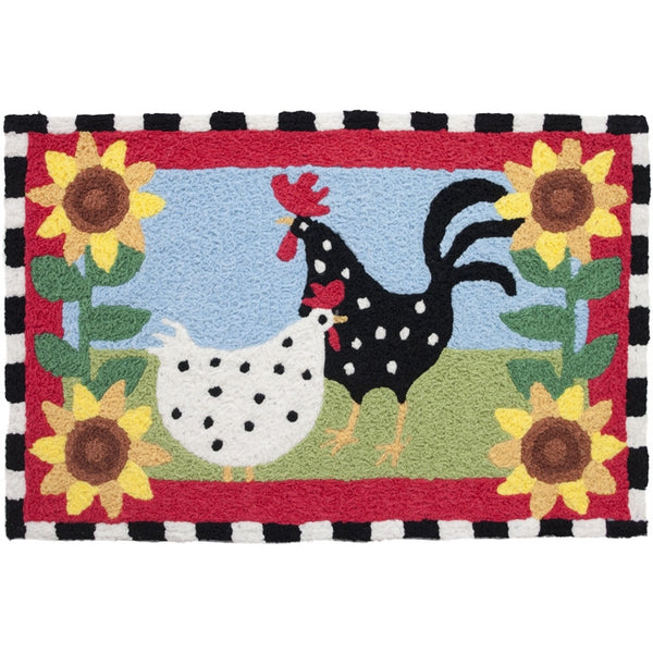 Jellybean Area Accent Rug Funky Chickens - ArtsiHome