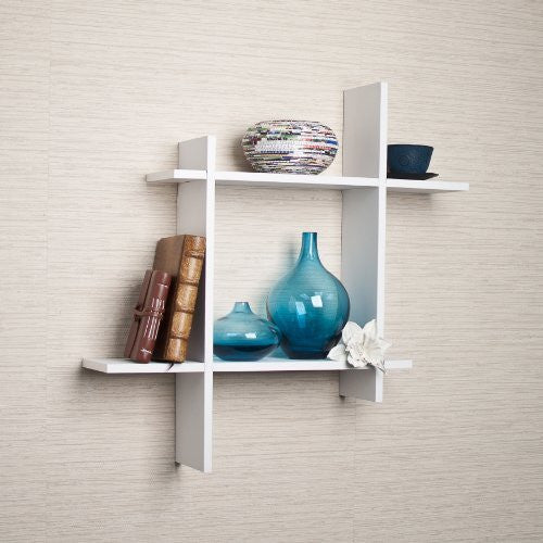 Asymmetrical Square Floating Wall Shelf - White Laminate - ArtsiHome