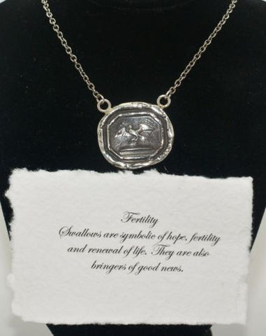 Pyrrha Design Sterling Talisman Wax Seal Necklace 18 Fertility Swallow - ArtsiHome