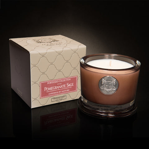 Aquiesse - Pomegranate Sage Small Soy Candle - Portfolio Candle Collection - ArtsiHome