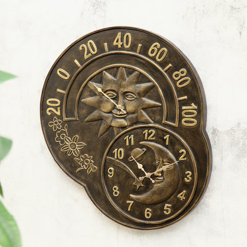 SPI Home Collection Sun and Moon Clock and Thermometer - ArtsiHome
