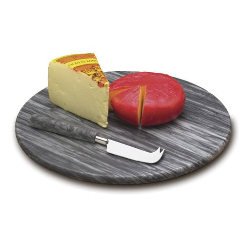 Grey Marble Round Cheese Board w/Knife - ArtsiHome