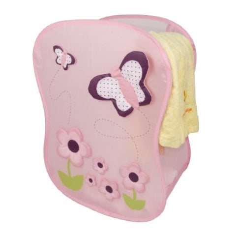 Innovative Home Creations Pink Butterfly Square Hamper - ArtsiHome