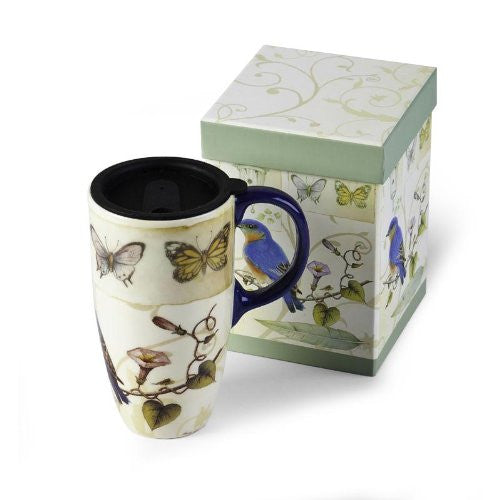 Cypress Home Latte Travel Mug, Blue Bird & Butterflies Design - ArtsiHome