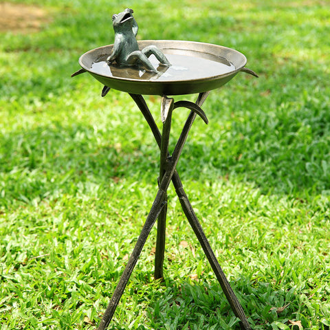 SPI Garden Collection Cool Frog Birdbath - ArtsiHome
