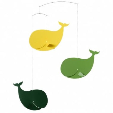 Flensted Happy Whales green/yellow Mobile - ArtsiHome