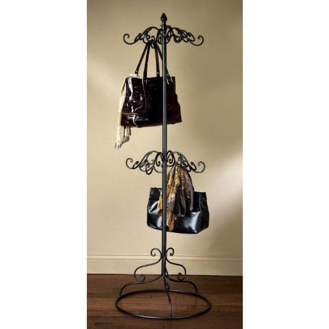 2 Tier Black Metal Purse Scarf Display Tree Rack - ArtsiHome