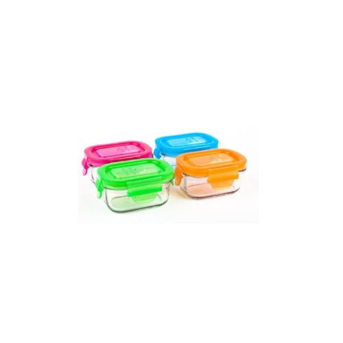 Set of 4 Wean Green Glass Food Containers - 6 oz. Wean Tubs - ArtsiHome
