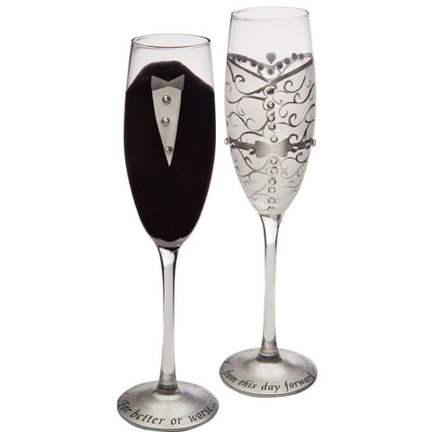 Evergreen Bride & Groom Champagne Flutes - Set of 2 - ArtsiHome