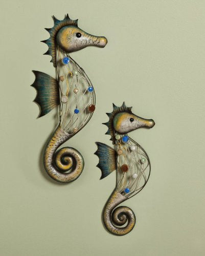 Set of 2 Metal Seahorse with Beads Wall Decor [Kitchen] - ArtsiHome