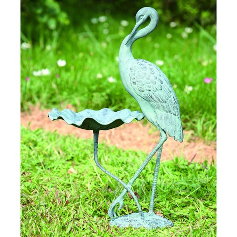 SPI Garden Collection Crane Birdbath - ArtsiHome