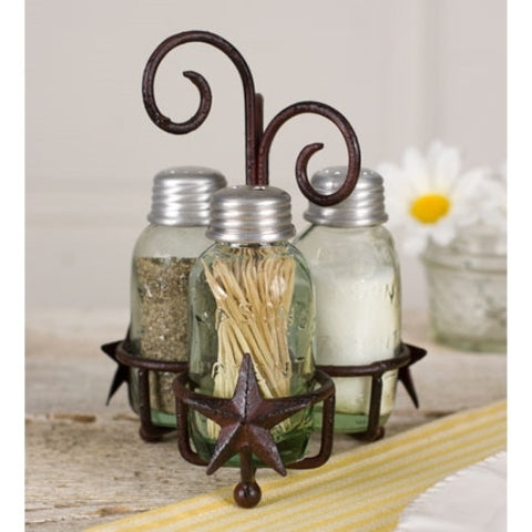 Star Salt Pepper and Toothpick Caddy Rustic Brown Finish - ArtsiHome