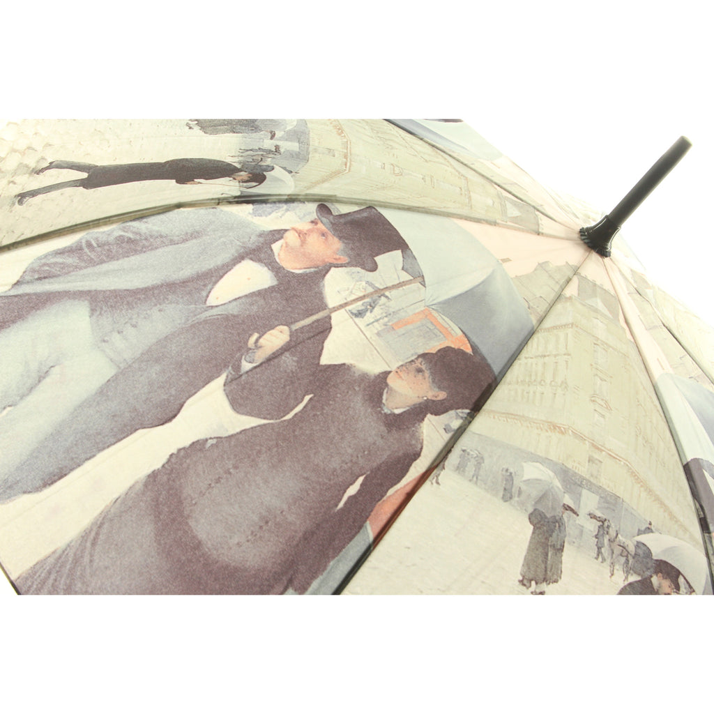 Galleria Enterprises Stick Umbrella Gustave Couple Paris Rainy Day - ArtsiHome