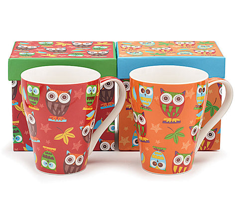 Burton & Burton Colorful Owl Mugs (Set of Two) - ArtsiHome
