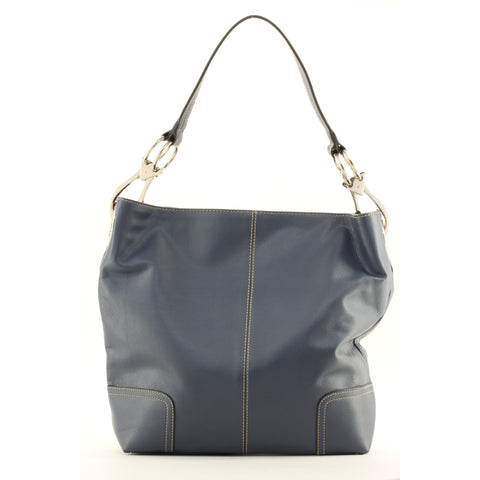 New Tosca Handbag, Purse Bucket Style Shoulder Bag Leather Look, 641 Color Navy - ArtsiHome