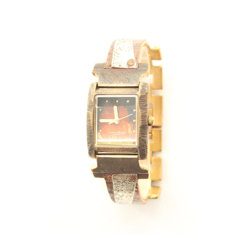 Watchcraft Handmade Milieris Limited Edition Unisex Watch. Small Rectangular Case. Copper Stripes overlap silver concrete engraving in narrow band. - ArtsiHome - Watch Craft - 1