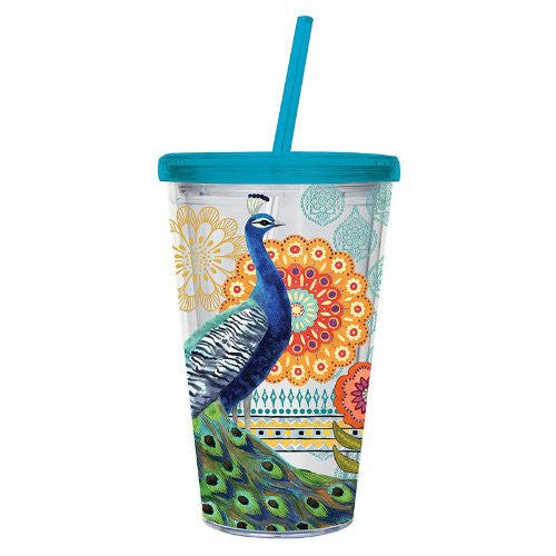Cypress Insulated Cup w/Straw - Proud Peacocks Design (17 oz) - ArtsiHome