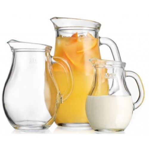 Durable Clear Glass 3-Piece Pitcher Set ~ 0.25-L /0.50-L /1-Liter Jugs With Handle Party Set - ArtsiHome - Home Essentials