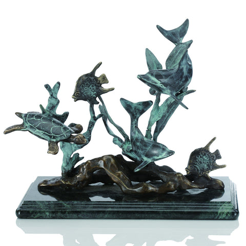 SPI Small Dolphin Seascape Brass and Marble Sculpture - ArtsiHome