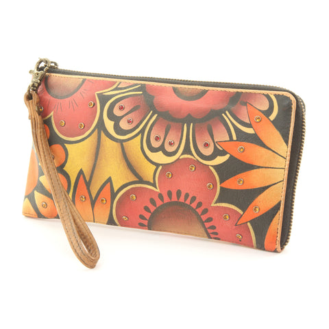 Anuschka Hand Painted Leather Purse Bag Jeweled Flowers Floral - ArtsiHome