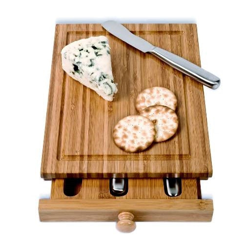 Bamboo Cheese Tools Case and Cutting Board - ArtsiHome