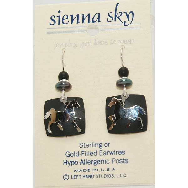 Sienna Sky IR Horse On Black Backer Earrings - ArtsiHome
