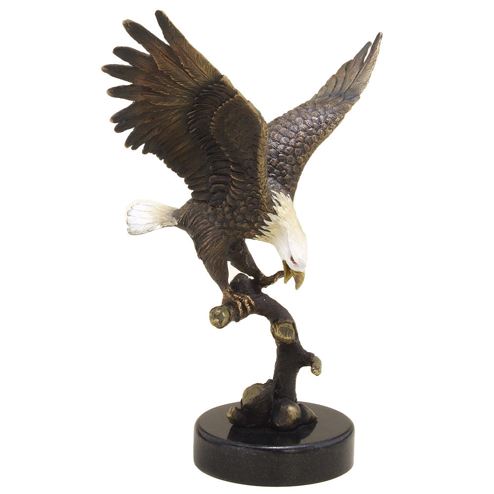 SPI Eagle on Branch Marble and Brass Sculpture - ArtsiHome