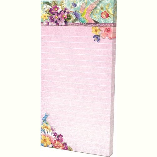 Punch Studio Hummingbird Floral Embellished Magnetic Note Pad with Jewels - ArtsiHome