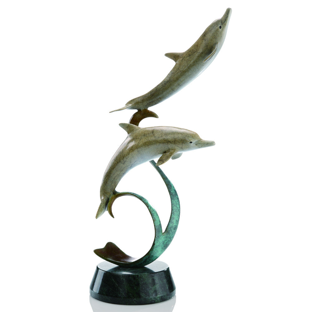 SPI Double Dolphins on Ribbon Brass and Marble Sculpture - ArtsiHome