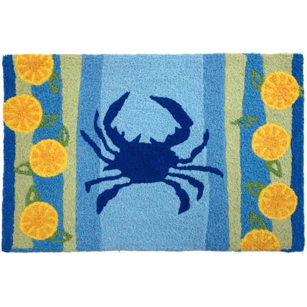 Jellybean Lemons & Blue Crab Accent Area Rug - ArtsiHome